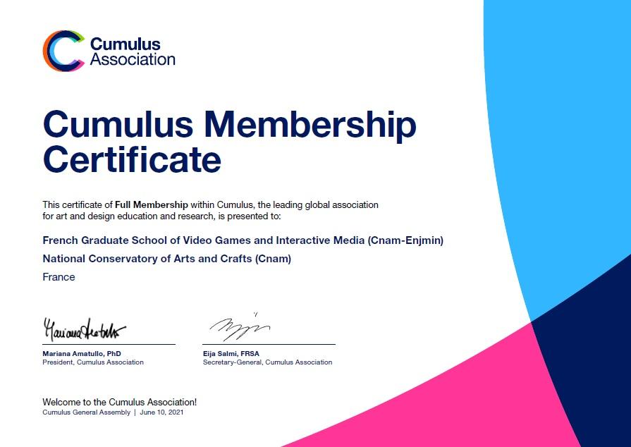 Enjmin certificate membership Cumulus