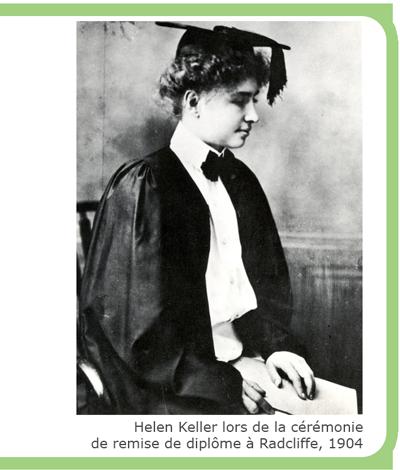 Helen Keller lors de la cérémonie de remine de diplôme à Radcliffe, 1904